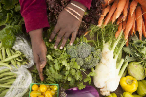 hands with fresh vegetables